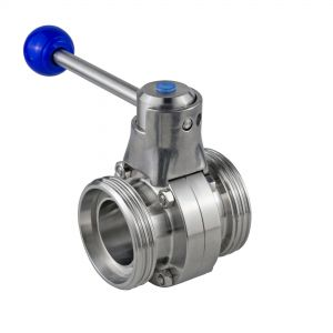Threaded Butterfly Valve, Male/Male, DIN 11851-G-G